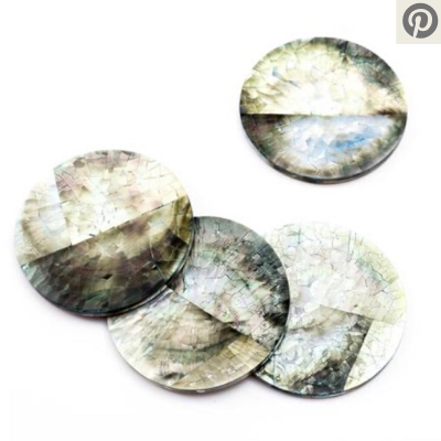 Fair trade mother of pearl coasters